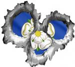 Bullet Hole Torn Metal 3 Shots With Yorkshire Rose County Flag Car Sticker 95x85mm